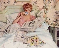 Sunday in bed - a coffee and a book or newspaper - its a real treat to be able to do this.