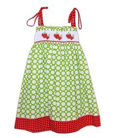 Green Polka Dot Strawberry Smocked Dress - Toddler & Girls #zulily #zulilyfinds