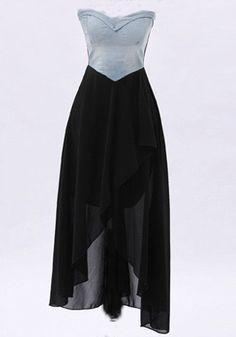 Black Patchwork Irregular Swallowtail Wrap Chest Chiffon Dress