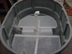 300 Gallon Stock Tank, Pond Filter System, Big Aquarium, Pond Filters, Filter Design, Aquarium Filter, Fish Ponds, Garden Pond, Aquaponics