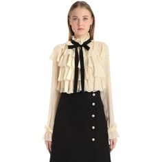 36a069b27a3cd Gucci Women Ruffled Silk Georgette Shirt With Bow (17.263.110 IDR) ❤ liked