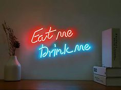 Neon Signs Eat me Drink me Neon Light Sign Real Glass Neon Sign Pink Blue Neon Lights Neon Wall Sign Hanging Neon Words for Wall Bedroom Room Decor Neon Wall Signs, Neon Light Signs, Led Open Sign, Blue Neon Lights, Eat Me Drink Me, Neon Lamp, Neon Words, Business Signs, Hanging Signs