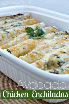 Avocado Chicken Enchiladas Make these sometimes as a special treat! I make a tomato sauce with various veggies to cook the chicken in, and then put some of the leftover sauce over the top, followed by a layer of mashed avocado with a little sour cream mixed in and topped with cheese.