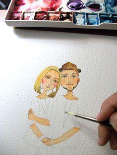 custom portrait, Custom Illustrated for Wedding Invitation, Custom Couple illustration.  DIGITAL FILE .. $50.00, via Etsy.
