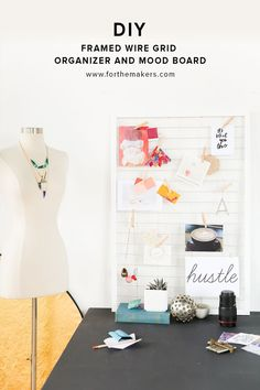 For the Makers DIY Framed Wire Grid Organizer and Mood Board