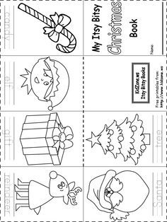 Christmas Coloring Books Printable New Itsy Bitsy Book Christmas Free Printable Christmas Worksheets, Christmas Worksheets Kindergarten, Preschool Christmas, Kindergarten Worksheets, Christmas Activities, Preschool Activities, Free Printables, Grammar Worksheets, Preschool Printables