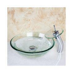 透明洗面ボウル&蛇口セット 洗面台 手洗い器 強化ガラス製 排水金具付(0917-VT4012)