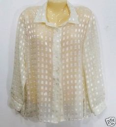 Womens-Semi-Sheer-Ivory-Blouse-Size-Large-12-Gold-Threads-Button-Front-LS