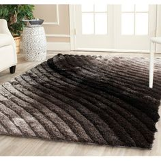 Safavieh Handmade 3D Shag Silver Ombre Area Rug ($399) ❤ liked on Polyvore featuring home, rugs, silver, patterned rugs, handmade area rugs, handmade rugs, striped area rugs and stripe rugs