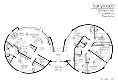 multi-dome 7013sqft 3bd 2ba game room, office, spa | house plans