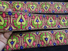 Multi color Trims Wholesale Embroidered Trim ribbon Trimmings You can  purchase from below link or What's