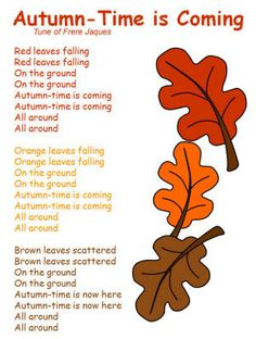 Autumn-Time is Coming Song # Fall Harvest/Lang/Lit Fall Preschool Activities, Preschool Music, Color Songs Preschool, Preschool Fall Theme, October Preschool Themes, Harvest Activities, Harvest Crafts, Poetry Activities, October Crafts