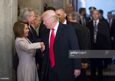 President-elect Donald Trump (C) and President Barack Obama (R) are greeted by members of the Congressional leadership including House Minority Leader Nancy Pelosi (D-CA) as they arrive for Trump's inauguration ceremony at the Capitol on January 20, 2017 in Washington, DC. Trump became the 45th president of the United States.