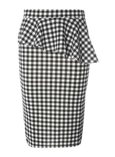 Womens Black Gingham Pep Hem Pencil Skirt- Black