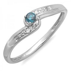 Share for $20 off your purchase of $100 or more! 0.10 Carat (ctw) 14k White Gold Round Blue And White Diamond Crossover Swirl Ladies Bridal Promise Engagement Ring 1/10 CT - Dazzling Rock #https://www.pinterest.com/dazzlingrock/