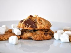 These chunky campfire cookies include all your summer s'mores ingredients: chopped up Hershey's bars, graham crackers, and marshmallows.
