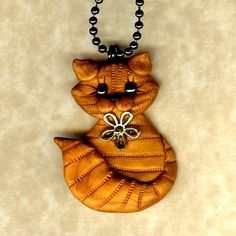 Yellow Tabby Kitty Cat Necklace Polymer Clay Jewelry by Freeheart1