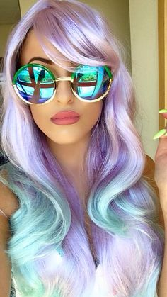 50 Stunningly Styled Unicorn Hair Color Ideas To Stand Out From The .- 50 Stunningly Styled Unicorn Hair Color Ideen, um sich von der Masse abheben – Neue Damen Frisuren 50 Stunningly Styled Unicorn Hair Color Ideas To Stand Out From The Crowd off - Purple Hair, Ombre Hair, Pastel Purple, Blue Ombre, Pastel Rainbow Hair, Balayage Hair, Pastel Green Hair, Pastel Wig, Blonde Hair