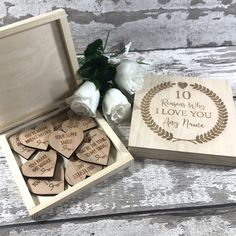 10 Reasons Why I Love You - Personalised Anniversary / Birthday Gift for Him or Her - Engraved Wooden Hearts & Personalized Gift Box Wedding Wooden Gift Boxes, Wooden Gifts, Love Notes For Her, Reasons Why I Love You, Romantic Gifts For Him, Wedding Gift Boxes, Birthday Gift For Him, Boyfriend Gifts, Boyfriend Girlfriend