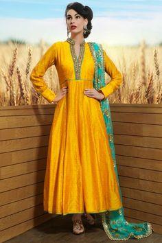 Yellow Raw Silk Mirror Embroidered Designer Salwars-SL8400