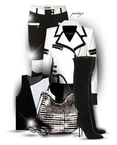 She Loves that Black and White by rockreborn on Polyvore featuring Balmain, Sergio Rossi, Marc by Marc Jacobs, Ray-Ban, blackandwhite, polyvorecommunity, polyvoreeditorial and stylingideas
