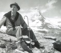 """""""Walt Disney poses while vacationing in the Swiss Alps, with the real Matterhorn looming behind him in the distance. Of course, he would eventually have his own Matterhorn built for Disneyland (with a few holes for the Skyway and bobsleds to run through it: in his words, after all, it 'was a Swiss mountain', so that was OK.)"""""""