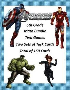 A you ready to crush sixth grade math Avengers style?  This bundle has 2 Bingo Games and 160 math task cards to provide review and fun in some very important CCSS skills.  Included are a game and cards for solving equations using all four operations, cards for simplifying expressions, and a game that reviews understanding, absolute value, and opposite integers.