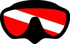 Scuba Diving: Dive Mask w/Flag SVG File