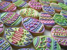 Lovely pastel Easter egg cookies! @Debbie Visovsky how much would you charge to make 50 of these for a company event on Easter Sunday?