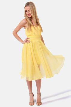 LuLu's Blaque Label Guest of Honor Strapless Yellow Dress in Yellow.  $156.00