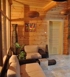 Our cabin has wood paneled walls like these, which really lend to the natural feel of the space.