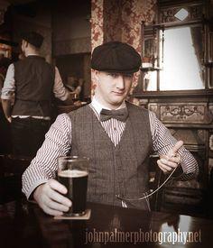 #peakyblinders #tweed #bakerboy #cap #pub #beer #waistcoat #birmingham #stripeshirt #vintage #pocketwatch #dickie