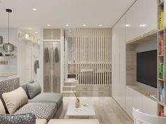 Apartment Design Compact Ideas For 2020 Condo Interior Design, Small Apartment Interior, Condo Design, Home Room Design, House Design, Modern Small Apartment Design, Door Design, Studio Apartment Layout, Studio Apartment Decorating