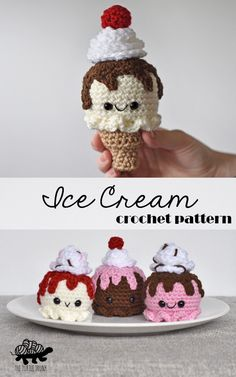 This amigurumi ice Cream pattern is the perfect summer project! These work up so fast and are great for using up those odds and ends of yarn! Crochet Apple, Crochet Food, Crochet For Kids, Diy Crochet, Crochet Ideas, Crochet Patterns Amigurumi, Knitting Patterns, Chocolate Drip, Different Stitches