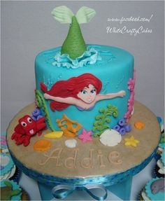 Under The Sea With Ariel - Cake & Cupcake Tower - by whitecrafty @ CakesDecor.com - cake decorating website