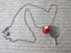 Snow white pendant necklace Fairest of the All with apple