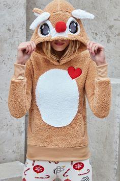 Reindeer Plush Hoodie