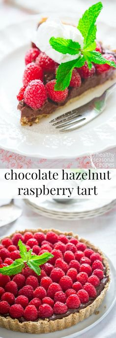 Here is a healthy raspberry tart recipe with dark chocolate and easy food-processor hazelnut crust! Chocolate Hazelnut, Healthy Chocolate, Chocolate Flavors, Chocolate Recipes, Raspberry Chocolate, Tart Recipes, Baking Recipes, Dessert Recipes, Baking Ideas