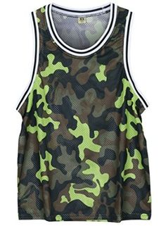 daee610d ililily Men Camo Sleeveless Baseball Athletic Mesh Jersey Tank Vest Top at Amazon  Men's Clothing store:
