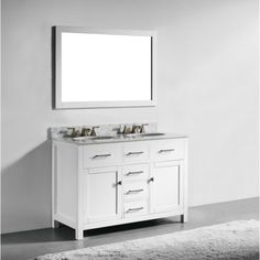 48 Inch White Finish Solid Wood Double Sink Bathroom Vanity With Soft Closing Dr