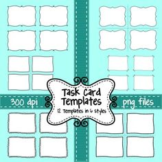 Task Card Templates - Set of 12 Frames/Borders to Overlay Black And White Doodle, Black And White Frames, Doodle Frames, Insert Text, Summer Beach Party, Page Borders, Digital Backgrounds, Frame Clipart, Paper Background