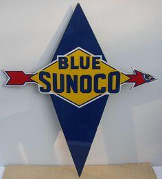 Blue Sunoco Vintage Porcelain Sign
