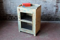 Salvaged Vintage Bar Cabinet Media Stand Kitchen Cabinet Indian Furniture Boho Industrial Yellow and Turquoise Blue Cabinet Curio