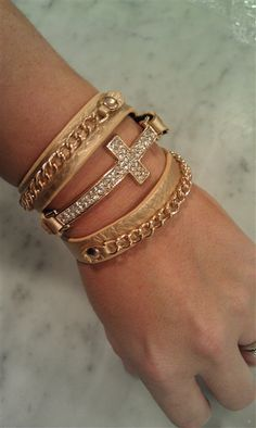 $25 Hot Gold - Now in Stock! Diamond Cross Wrap Bracelet - Gold, Curb Chain