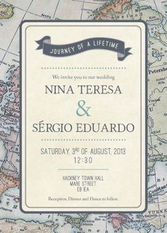 Travel Theme Wedding Invitation by ConteurCo on Etsy
