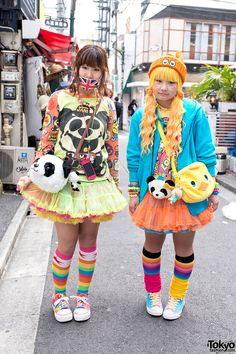 Colorful Styles w/ Tulle Skirts, Rainbow Socks & Panda Purses in Harajuku