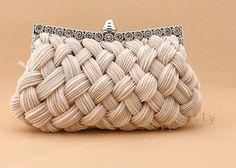 Satin Diamond Braided Bridal Clutch Evening Bag Handbag beige light BbzE | eBay