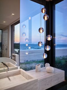 Stelle Lomont Rouhani Architects Design a Contemporary House in Long Island, New York Home Lighting, Lighting Design, Long Island House, Home Interior Design, Interior Decorating, Tiny House Movement, Bathroom Interior, Bathroom Remodeling, Architecture