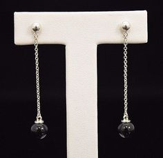 Rare Stunning Tiffany & Co. Sterling Silver and Onyx Drop Dangle Stud Earrings by Tiffanytreasureshop on Etsy