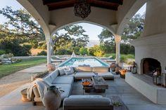 beautiful Ojai outdoor living room with fireplace